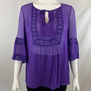 Ella Moss 3/4 Sleeve Purple Blouse XS